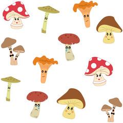 Mushroom seamless pattern, vector illustration