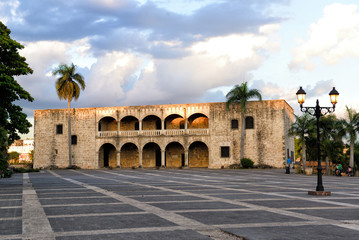 Santo Domingo, Dominican Republic, Plaza Espana, Alcazar de Colon in the sunset, Colonial Zone, UNESCO World Heritage Site