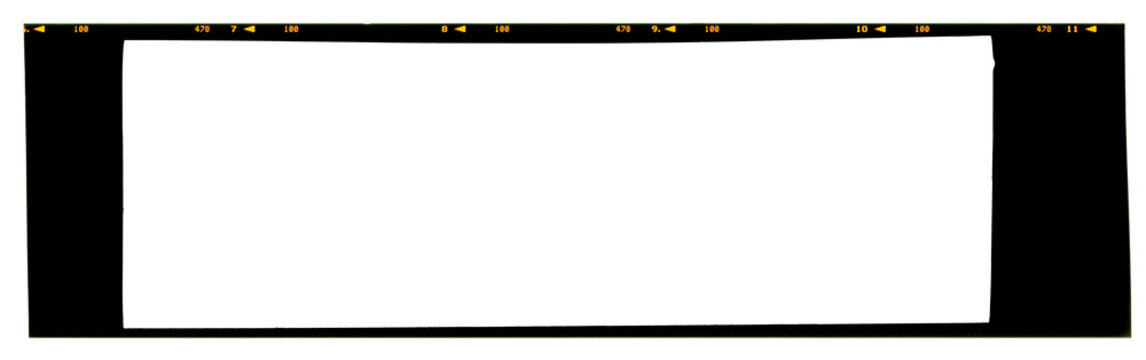 Empty panoramic large format 6x17cm color slide 120 or 220 type (60mm) medium format film strip template with copy space isolated on white background with work path.