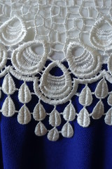 White openwork lace and rippled blue fabric