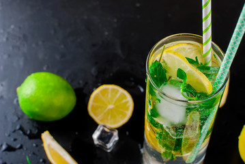 mojito cocktail wits lemons, limes and mint