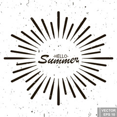 Retro effect. The rays. The inscription is hello summer. Isolated on white background.