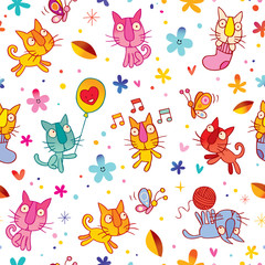 cute kittens seamless pattern