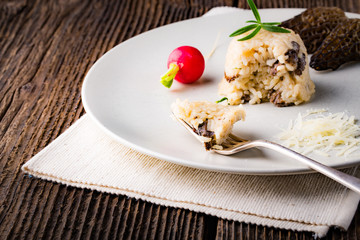 Delicious mushroom risotto with parmesan cheese
