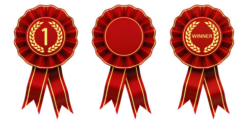 Set of red and gold rosettes isolated on white , First place winner ribbon cockades