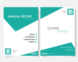 Green square annual report cover design template vector. Brochure concept presentation website portfolio. White layout leaflet template. Magazine business advertising set. Poster A4 size