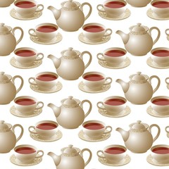 Seamless texture of tea set