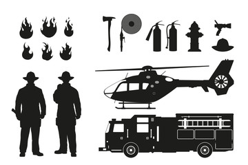 Black silhouette of firefighters and fire fighting equipment on white background. Helicopter and firemans car. Icons of flame and items