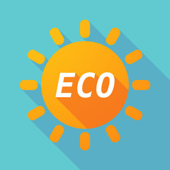 Long shadow Sun with    the text ECO