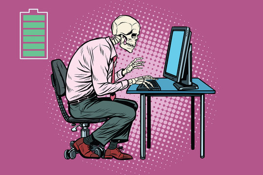 Skeleton worker working on computer