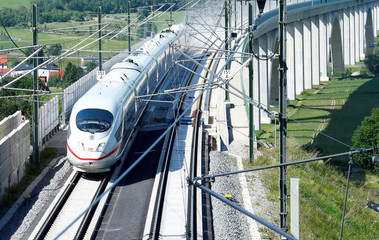 An Intercity Express ICE train of Deutsche Bahn AG is pictured on the new new rail line connecting Berlin and Munich in Gehren near Erfurt