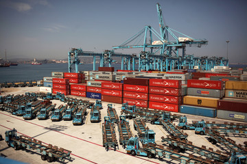 Idle trucks and cranes are seen during the first day of a 48-hour nation-wide strike of dockers in the port of Algeciras