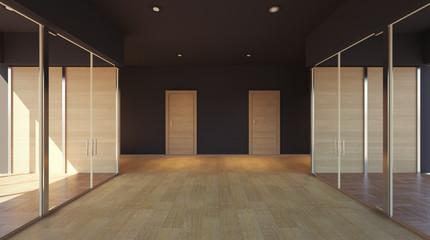 Empty interior of office space. 3D rendering
