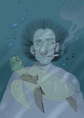 Illustration of man under water