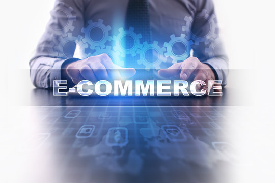 Businessman working with modern tablet pc and selecting e-commerce.