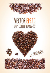 Vector coffee beans background with place for your text.
