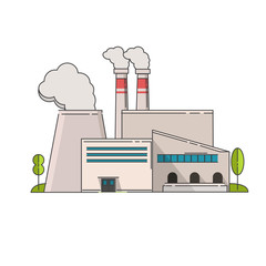 Industrial factory in flat style a vector an illustration.Plant or Factory Building. road tree window facade.Manufacturing factory building. industrial building concept.Eco style factory line