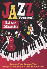 Retro Abstract Jazz Festival Portrait Poster