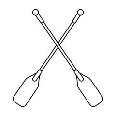 boat oars  icon image vector illustration design  single black line