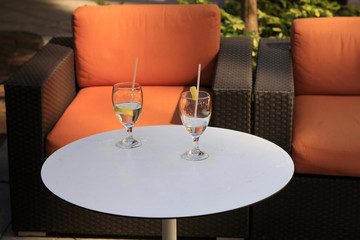 Empty Chairs at an outside, Al Fresco restaurant in Florida