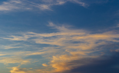 The sky with clouds at sunset of the day