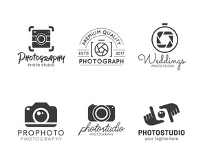 Set of photography logo ,Vector Icons for Photographers, Photo camera vector illustration.