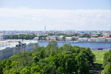 Panoramic view of Vasilievsky island and Neva river in Saint Petersburg.