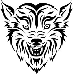 tribal - head wolf for tattoo