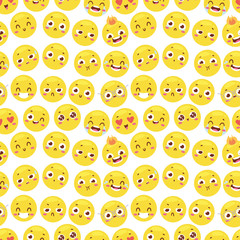 Seamless pattern with cheerful happy smile emojji faces website yellow expression emotion icons background vector illustration