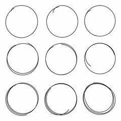 Set of hand drawn scribble circles isolated on white background
