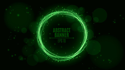Luminous neon banner of green color. Shining lights in motion with small particles. Glare bokeh. Flying motes and lights. Banners for the web. Vector illustration