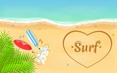 I love surfing. Leaves of a palm tree. On the beach there are surfboards and slippers with a towel. Heart painted on a sandy beach. Time for rest and sports. Vector illustration
