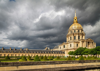 Dramatic sky over Les Invalides (The National Residence of the Invalids) in Paris, France.