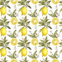 Lemon watercolor seamless pattern. Beautiful hand drawn texture. Romantic background for web pages, wedding invitations, textile, wallpaper.
