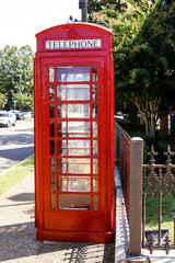 A British Red Telephone box in Oxford Mississippi