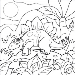 Cartoon cute stegosaurus, coloring book