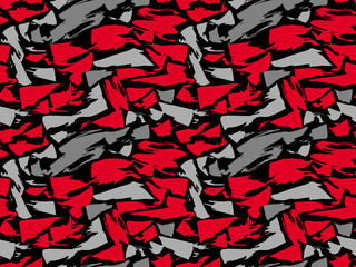Pattern texture repeating seamless. Red and gray spots on a black background. Vector background. Repeat.