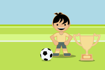 kid playing soccer and winning cup