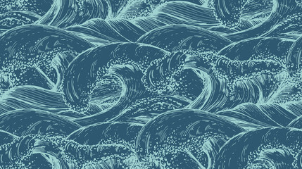 Seamless pattern with hand drawn sea waves