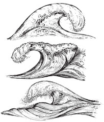 Set of hand drawn sea waves in sketch style