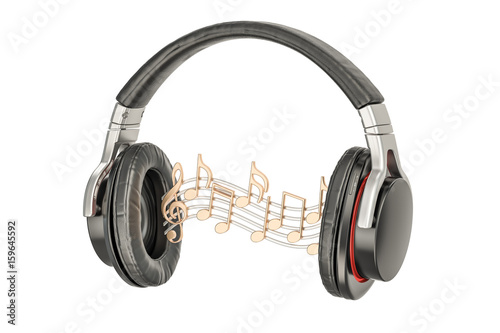 "Headphones Music Notes: ""Headphones With Music Notes, Musical Concept. 3D"