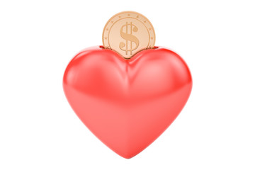 Money box in heart shape, 3D rendering