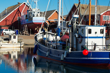 harbor with fishing boats at the north of Denmark