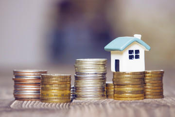 Mortgage concept. Money and house