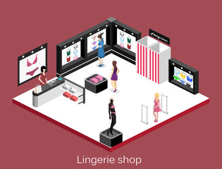 Isometric flat 3D isolated concept vector cutaway interior lingerie store