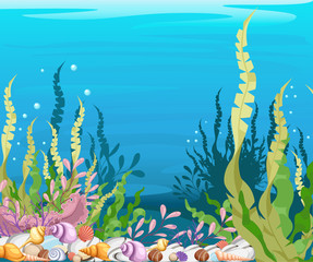 under the sea vector background Marine Life Landscape - the ocean and underwater world with different inhabitants. For print, create videos or web graphic design, user interface, card, poster.