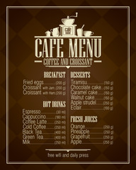 Retro style cafe menu list with dishes name.