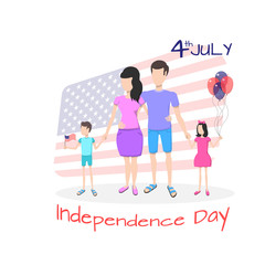 Happy family celebrate July 4, the Independence Day of the United States of America against the background of the USA flag