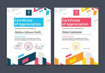 Colorful Award Certificate Layouts 2