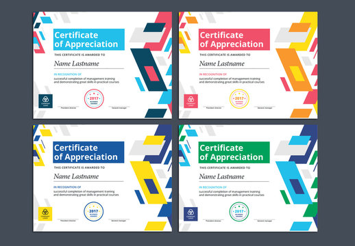 Colorful Award Certificate Layouts 1